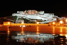 Free The Mirror Of Potala At Night Stock Photo - 6781250