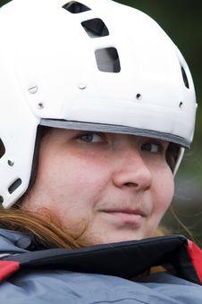 Free Portrait Of Woman-sportsmen In White Helmet Royalty Free Stock Images - 6782779