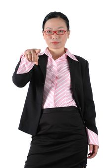 Free Asian Businesswoman Pointing Finger Stock Photo - 6783030