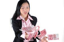 Free Businesswoman Throwing Money Stock Image - 6783051