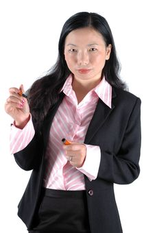 Free Chinese Office Lady With Pen Royalty Free Stock Photography - 6783057