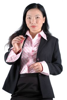 Free Young Businesswoman Pointing Pen Stock Photography - 6783062
