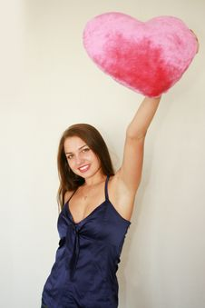 Free Valentine S Day. Woman With A Big Red Royalty Free Stock Photos - 6783128