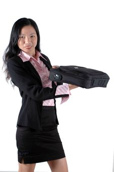 Office Lady With Suitcase Stock Image