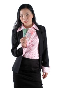 Free Chinese Office Girl With Money Royalty Free Stock Image - 6783136