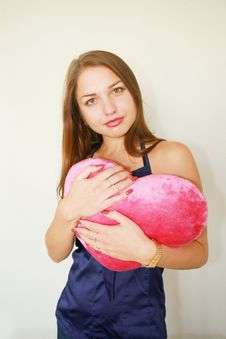 Free Valentine S Day. Woman With A Big Red Stock Photo - 6783230