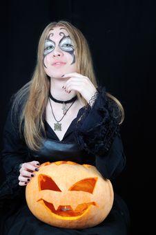 Portrait Of Pretty Vampire Royalty Free Stock Photography
