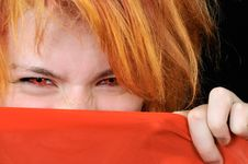 Free Portrait Of Beautiful Red Girl With Red Eyes Stock Photos - 6783713