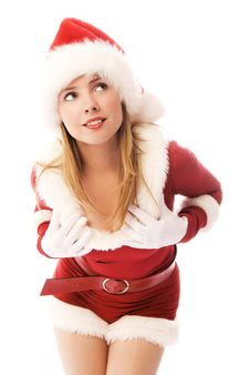 Free Dreamy Girl Dressed As Santa Stock Photo - 6784040