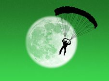 Free Parachutist In The Moon Stock Photography - 6785072