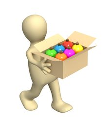 Free 3d Puppet, Carrying A Box With Christmas Balls Stock Photo - 6785980