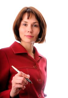 Businesswoman With A Pen Royalty Free Stock Photos
