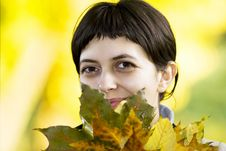 Free Young Woman With Maple Leaves Stock Images - 6787974