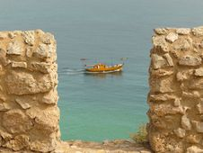 Boat Seen From Sagre S Fortress Royalty Free Stock Images