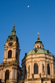 Free Prag Baroque Church With Moon Stock Photos - 6789483