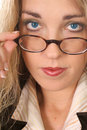 Free Woman Pulling Her Glasses Down - Blue Eyes Royalty Free Stock Image - 6799166