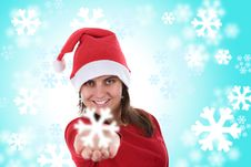 Santa Woman Holding Small Snowflake In The Hand Royalty Free Stock Photos