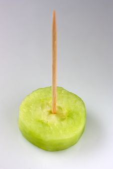 Toothpick On The Cucumber Royalty Free Stock Images
