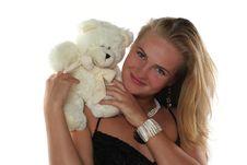 Free Woman And Teddy Bear Stock Photos - 6790473