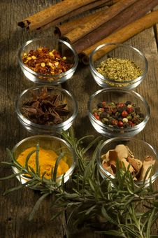 Spices On An Old Table Royalty Free Stock Images