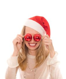 Free Winter Portrait Of A Joyful Woman In Santa Hat Stock Images - 6792534