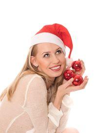 Free Winter Portrait Of A Joyful Woman In Santa Hat Royalty Free Stock Photos - 6792568