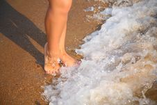 Free Legs On Wave On Sand Stock Photos - 6794073