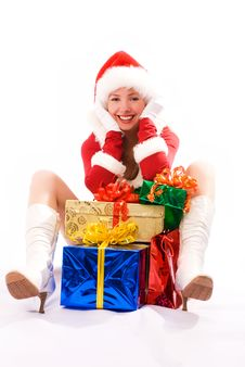 Free Happy Girl With Christmas Presents Royalty Free Stock Images - 6794259