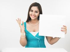 Asian Female With A Placard Royalty Free Stock Photos