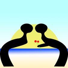 Free Beach Kiss Sunset Stock Photography - 6796142