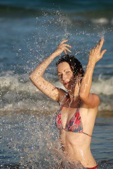 Splashing At The Beach Royalty Free Stock Image