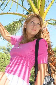 Free The Woman Near A Palm Tree Stock Photo - 6796640