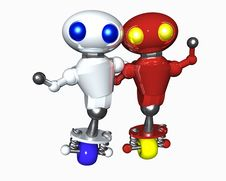 Free Two Robots Of Different Color Royalty Free Stock Photo - 6797165