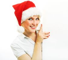 Free Mrs. Claus Holding Blank Paper. Stock Image - 6797341