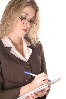 Free Business Woman Taking Notes Royalty Free Stock Photo - 6799095