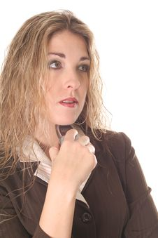 Woman Thinking About Her Next Phone Call Royalty Free Stock Images