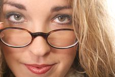 Free Woman Pulling Her Glasses Down - Green Royalty Free Stock Photos - 6799158