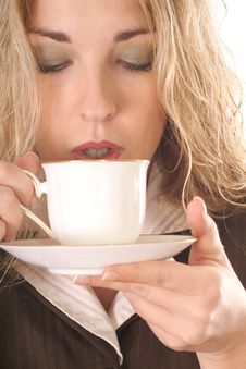 Sexy Woman Sipping Coffee Stock Photo