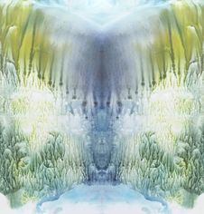 Free Bright Symmetric Backdrop. Blue, Green And Yellow Watercolor. Abstract Painting. Stock Photo - 67931180