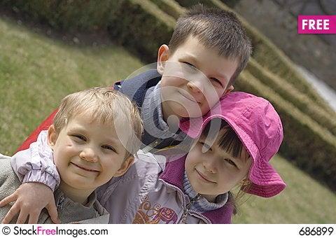 Children in garden Stock Photo