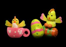 Free Easter Rabbits On Black Backdrop 2 Royalty Free Stock Photo - 680425
