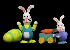 Free Easter Rabbits On Black Backdrop 1 Royalty Free Stock Image - 680426