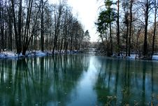 The First Ice On A Pond. Royalty Free Stock Photo