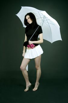 Free Sad Girl With Umbrella Royalty Free Stock Photography - 689467