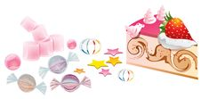 Cake And Candies Illustration Royalty Free Stock Image