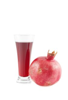 Free Glass Of Garnet Juice And Pomegranate Fruit. Stock Images - 6802164