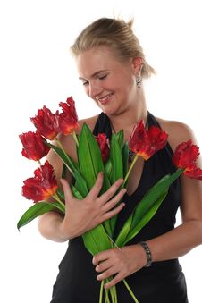 Free Woman In Dress With Tulips Royalty Free Stock Photography - 6802287
