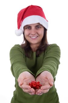 Santa Woman Holding Small Red Ribbon In Her Hands Royalty Free Stock Photography