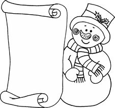 Snowman - Message Letter For Santa Claus Royalty Free Stock Images