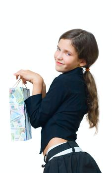 Free Beauty Teen Girl And Money Package Stock Image - 6803091